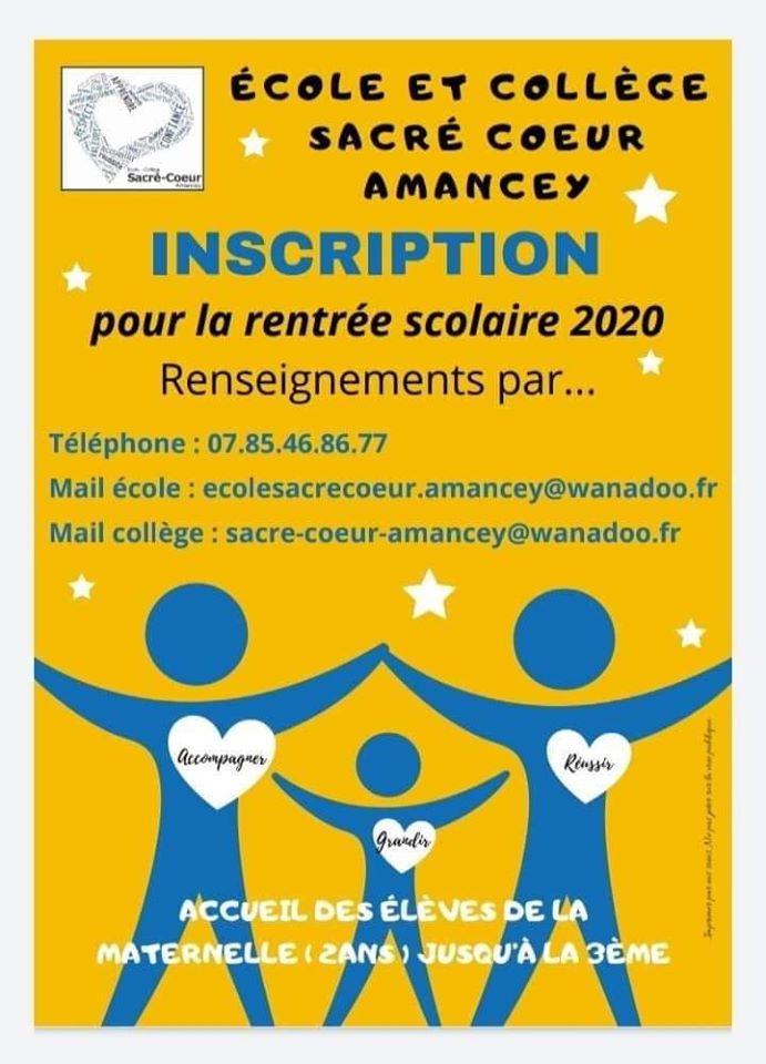 inscription école Sacré Coeur Amancey