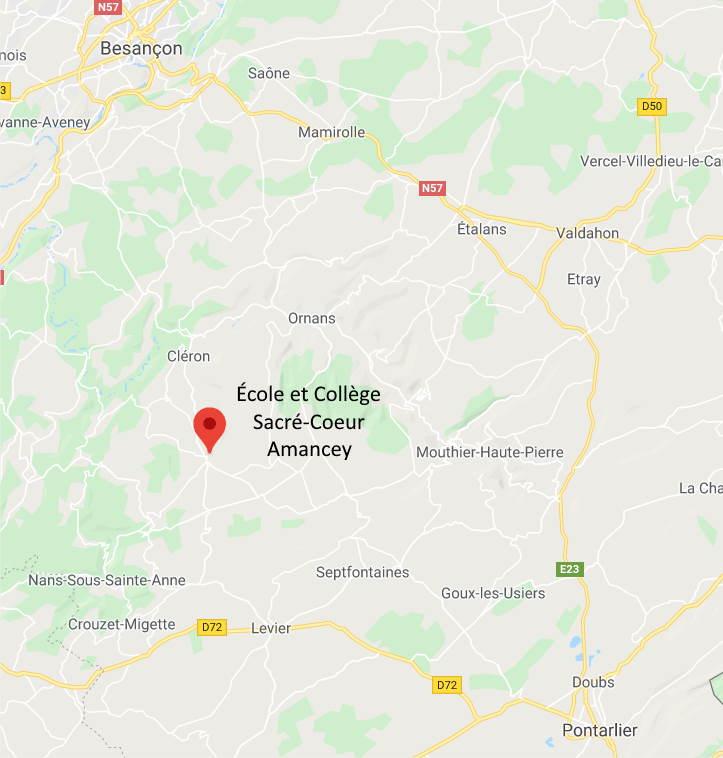 Situation géographique école et collège Sacré Cœur Amancey